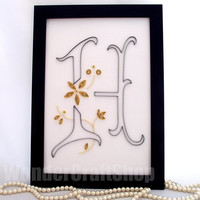 monogram H, initial H, H Letter, personalized name art, name plate, custom monogram, wall letter, wall decor with silver or golden flowers