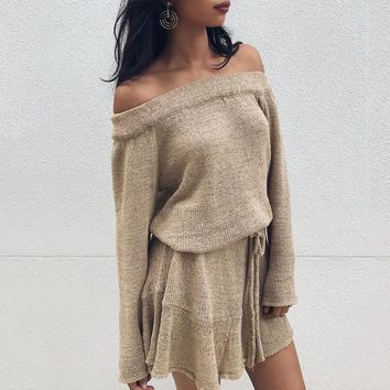 Women Long Sleeved Knitted Thick Off The Shoulder Sweater Dress