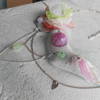Necklace with AgateStone+Wood+Pearls+Metal+Glass+Organza!~Porcelain Dawns~ ElvishRomanticOOAK Necklace in White+Pink+Mint+Blush+Chartreuse!
