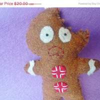 SALE 15% OFF gingerbread man ornament funny Christmas felt decoration, holiday decoration