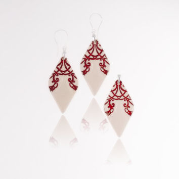 Red and white jewelry set Big dangle earrings Red ceramic earrings and pendant Statement earrings Red and white wedding sterling silver 925