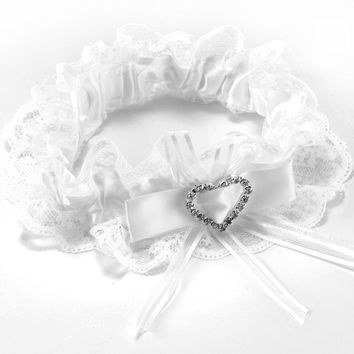 TFGS Garter white lace wedding accessory lucky bride Bow rhinestone heart elastic tape #67