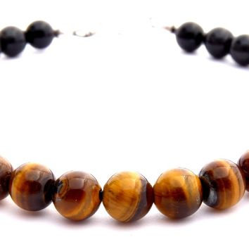Mens PERSONAL POWER & AMBITION Solar Chakra Bracelet w/ Yellow Tiger Eye