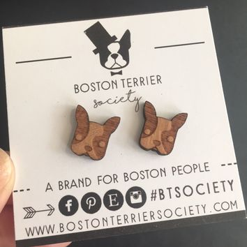 Unique Boston Terrier jewelry | laser cut wood Boston earrings | Boston Terrier face stud earrings