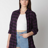 Unisex Check Plaid Flannel Long Sleeve Button-Up with Pocket