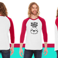 Sloth Running Team American Apparel Unisex 3/4 Sleeve T-Shirt