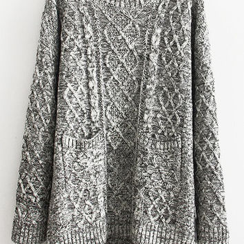 Grey Knitted Asymmetric Sweater with Pocket