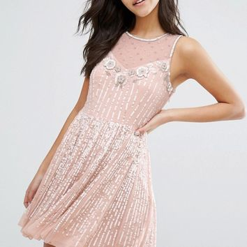 Miss Selfridge Embellished Skater Dress at asos.com