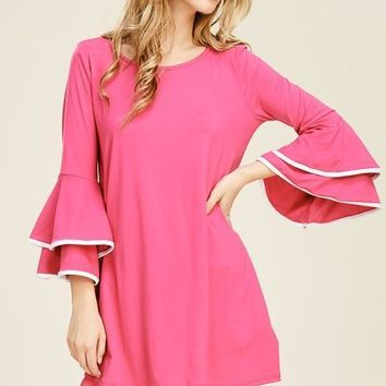 Double Ruffle with Contrast Color Tunic Top - Multiple Colors!