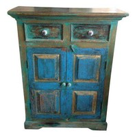 Pre-owned Distressed Painted Wood Cabinet