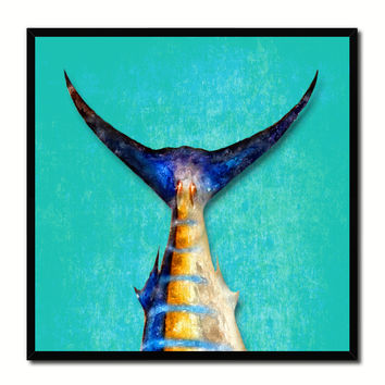 Blue Marlin Fish Tail Art Aqua Canvas Print Picture Frame Wall Home Decor Nautical Fishing Gifts