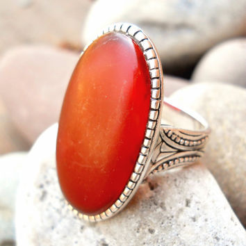 Vintage Sterling Carnelian Ring Barse Large Red sz 9