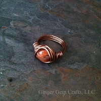 Sunstone ring, wire wrapped, reiki, boho, crystal healing jewelry