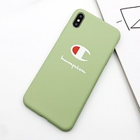 Champion Fashion New Letter Print Women Men Phone Case Protective Cover Green