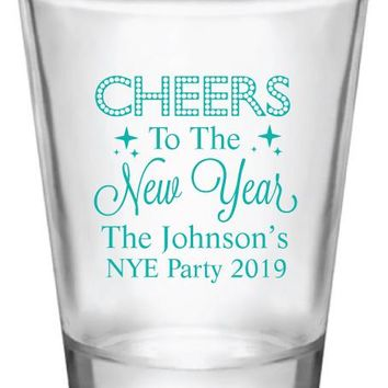 New years eve party shot glasses, cheers to the new year, personalized shot glass party favors