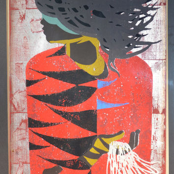 "Limited Original Edition Woodblock ""The Red Coat"" by Tadashi Nakayama, Cursive Artist's Pencil Signature/Dated"