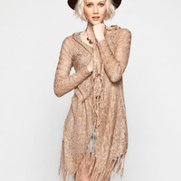 Full Tilt Womens Hooded Fringe Wrap Sweater Mocha  In Sizes