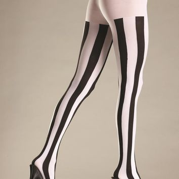 Bewicked Female Opaque Vertical Stripe Tights BW678B