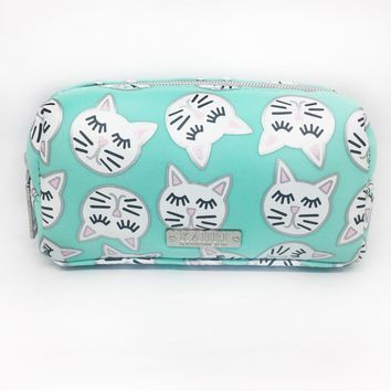 Sleepy Cat Neoprene Small Cosmetic Bag