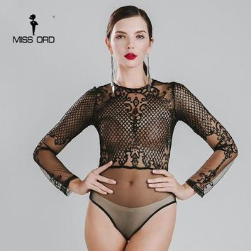 LMF78W Missord 2015 Sexy O-neck long sleeve sequin bodysuit FT4754-1