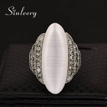 SINLEERY Vintage Big Opal Stone Shuttle Finger Rings For Women Size 7 8 9 Fashion Antique Silver Color Wedding Jewelry Jz386