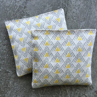 Organic Lavender Sachet Set in Printed Linen Yellow Pyramid Set of 2 Japanese Linen