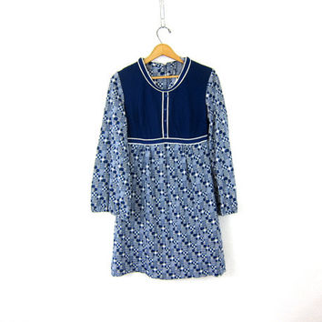 60s baby doll Dress 1960s Twiggy go-go Mini Checker Print Dress MOD High Waist Blue & White Long Sleeve grunge Mod dress Women's medium