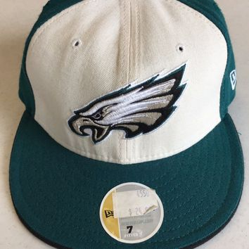 RETRO NEW ERA PHILADELPHIA EAGLES GREEN/BLACK HAT W/ WHITE FRONT FITTED HAT