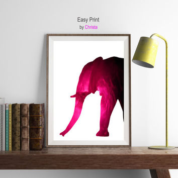 Minimalist art, pink Elephant print, Elephant printable, Elephant wall decor, Elephant poster, Wild animal art, Instant download, Home decor