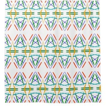 Line Art of Red, Blue Green on Shower Curtain