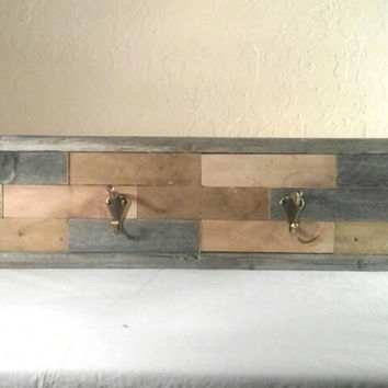 Rustic Coat Rack/Hat Rack made with Reclaimed Wood (Pattern 2)
