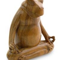Hand Made Wood Sculpture - Frog Meditates | NOVICA