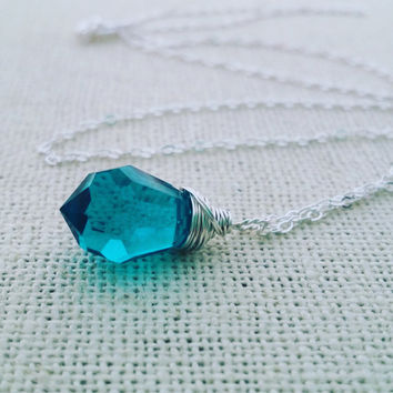 Teal Swarovski Crystal Wire Wrapped Briolette - Sterling Silver Necklace - Teardrop Necklace - Silver Necklace - Gift for Her