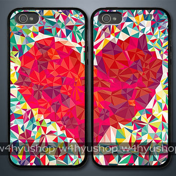 Heart Puzzle iPhone 5 4/4S Samsung Galaxy S3 Couple Hard Plastic Cases