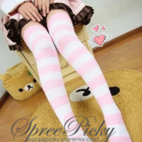 {Buy 2 Get 3rd} Haiyore Nyarukosan over knee Knit thick blue/white stripe stocking free shipping SP130180 from SpreePicky
