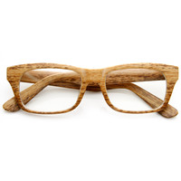 Wood Print Artistic Fashion Rectangle Clear Lens Glasses