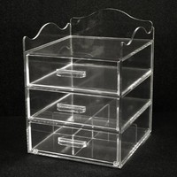 "Clear Acrylic Makeup & Cosmetic Organizer, 9.5""W x10""D x 13""H, 3 Drawers with a Pretty Curved Edge on Top with Space for Storing Taller Items. Made in the USA! by PPM."