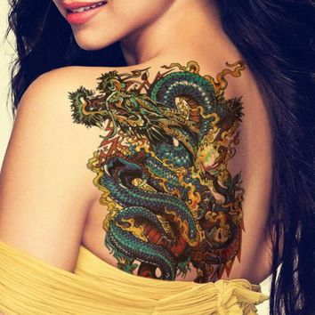 Tattoo lion 5Pcs Sexy Dragon Lion Waterproof Large Temporary Tattoo