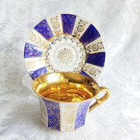 Vintage Royal Heidelberg Gold cup and Saucer, Cobalt Blue Gold Tea Cup Winterling Tea Party Demitasse, Bavarian Gold Gild Floral Motif
