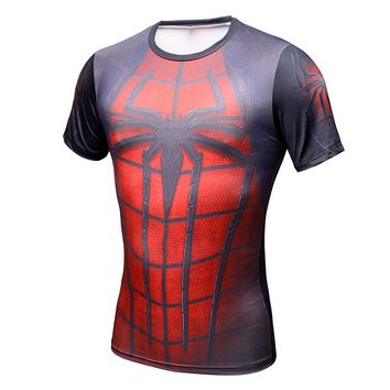 2017 Spiderman Ironman Superman Captain America Compression Shirt Superhero Soldier Marvel Comics Mens Short T Shirt