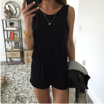 Black Sleeveless Drawstring Romper