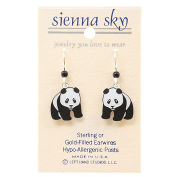 Sienna Sky Panda Bear Dangle Hand-Painted Earrings