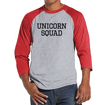 Men's Funny Shirt - Unicorn Squad - Funny Mens Shirts - Unicorn Shirt - Red Baseball Tee - Gift for Him - Funny Gift Idea for Boyfriend