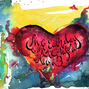 Red Heart Painting grateful gift birthday gift christmas gift heart with quote watercolor heart artwork holiday gift for girl love quote