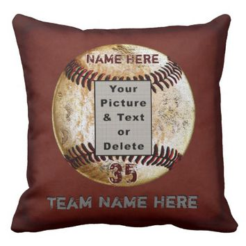 Unique Photo Personalized Baseball Senior Gifts Throw Pillow