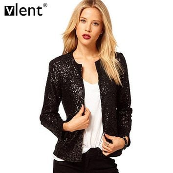 Vlent 2016 Autumn Veste Gold Sequin Fabric Elegant Jacket Women Winter Fitness Patchwork Coats Cardigan Women O-Neck Outwear