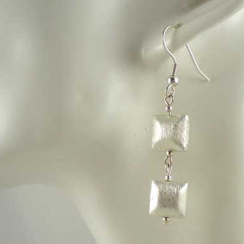 Modern Minimalist Contemporary Style Earrings Brushed Silver Plated 10mm Facetted Square Beads, UK Handmade 10011