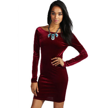 Women's Vestidos With Long Sleeves 2016 New Autumn And Winter Slim Package Hip Above Knee Mini Office Sexy Velvet Dresses N10664