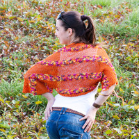 Knitted Summer Shrug/ Orange Shrug/ Elegant Hand Knit Shrug/ Knitting Women Fashion/ Bolero/ Boho/ All Sizes by Solandia