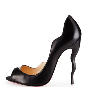 Christian Louboutin Dictata Half-d'Orsay Squiggle-Heel Red Sole Pump, Black